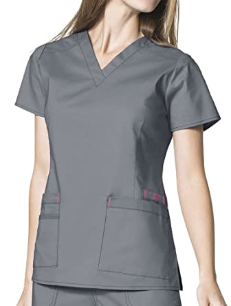 4c50d244fe2 Image Unavailable. Image not available for. Color: Wink 'WonderFLEX 'Verity'  V-Neck Top' Scrub Top Pewter Medium