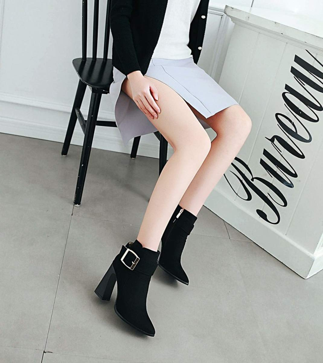 Adong Kurze Stiefel für für für Frauen Suede Martin Rain Stiefel Lining Baumwoll-Zipper Nonslip Work schuhe für Frauen und Männer handgemacht,schwarz,38EU 8fdbc0