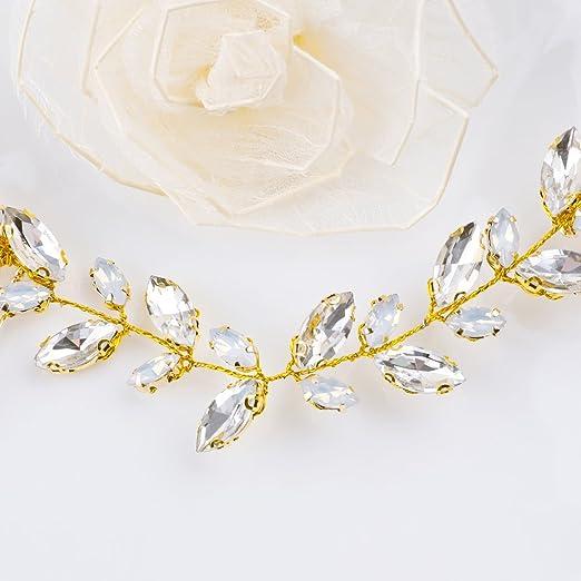Handcess Combs clip Vine Opal strass di cristallo capelli sposa accessori  per capelli per sposa e damigelle (oro)  Amazon.it  Bellezza 7982e046c78a