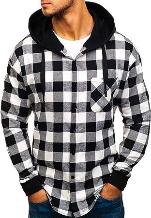 DEELIN Camisa De Manga Larga, Los Hombres De OtoñO De Invierno A Cuadros De Sudadera con Capucha Blusa De Ropa De Camisa