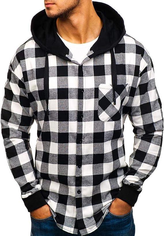 Hoodie Hooded Pullover Sweatshirt Mens Autumn Winter Long Sleeve Plaid Top Tee Outwear Blouse Sweatshirt,Red,M,United States