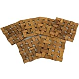 Kuber Industries™ Bamboo Wooden Coaster, Pan Pot Holder Heat Insulation Pad, Square 13 x 13 cm, 6 Piece Set -KI3428