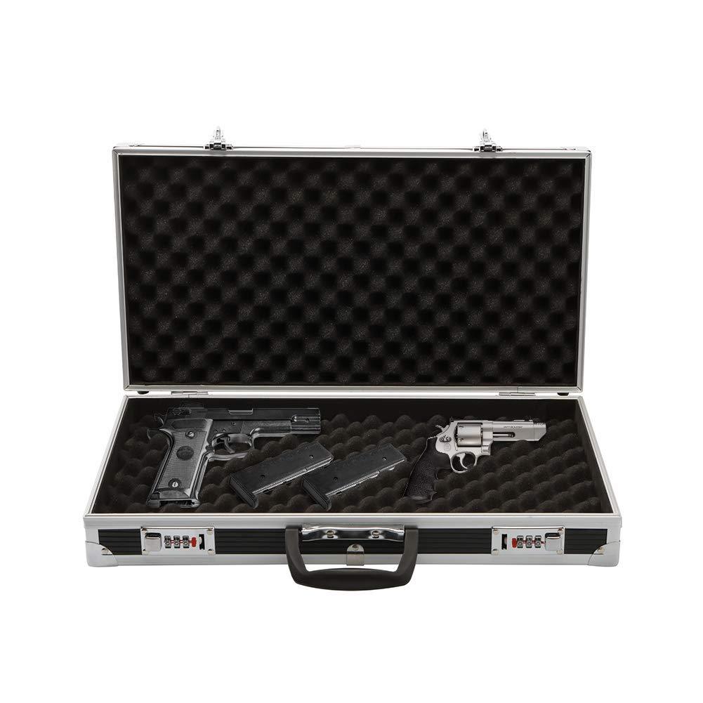 Aluminum Lock Box Pistol Case Handgun Foam Safe Carry Storage Hard Storage Carry Case,Black
