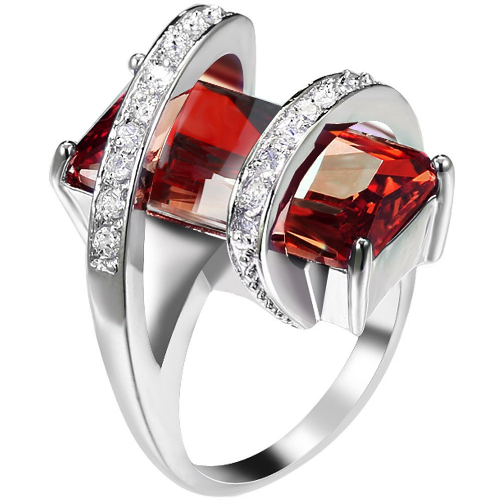 Womens Platinum Plated Square Cut Solitaire Red Ruby CZ Stretch Unique Design Promise Ring Wedding Band 7