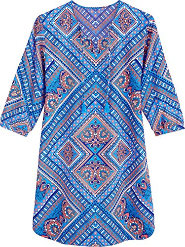 - Coolibar UPF 50+ Women's Tunic Dress - Sun Protective (Medium- Turquoise Patchwork)
