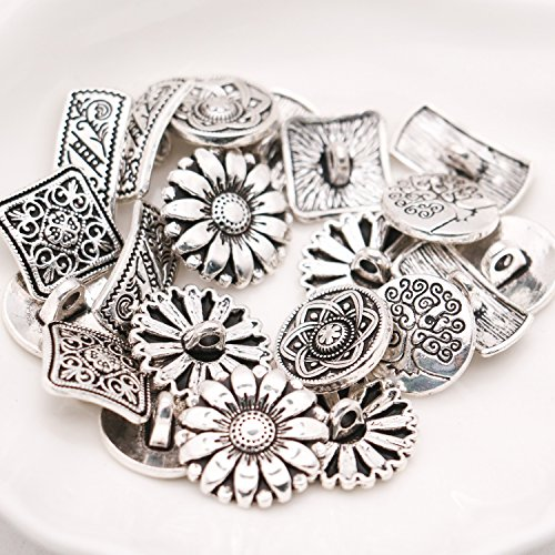HUELE 50 pcs Mixed Antique Silver Flower Decorative Metal Buttons for Sewing