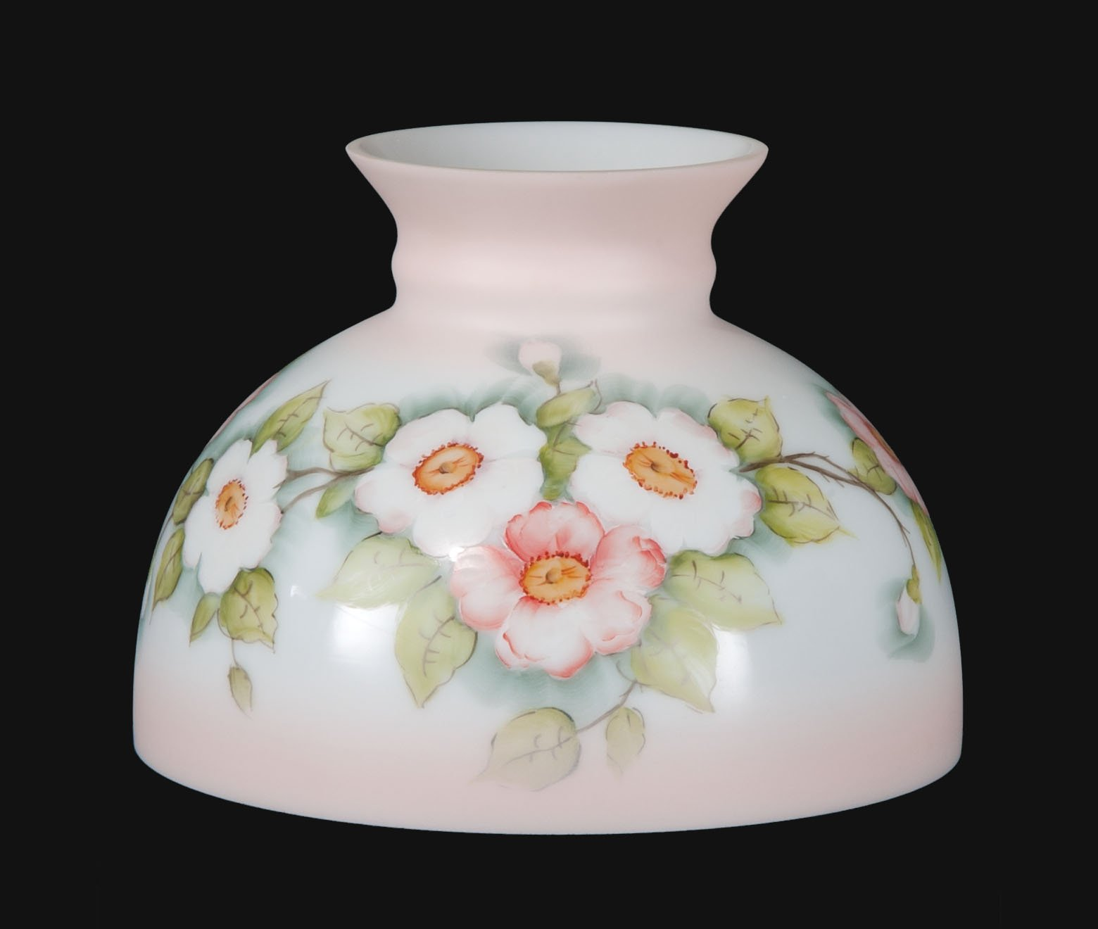 B&P Lamp Opal Glass Student Shade, Apple Blossoms Scene