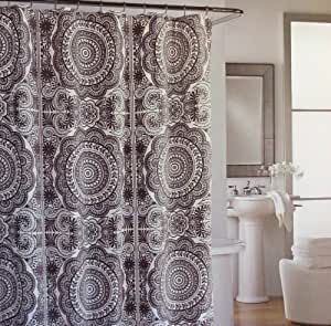 Shower Curtain Fabric Designer Cynthia Rowley 72 X 72 Large Medallions White Charcoal Grey