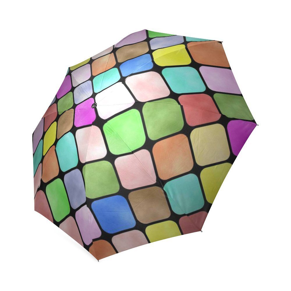 Customized Unique Colorful Rounded Squares Folding Rain Umbrella ...
