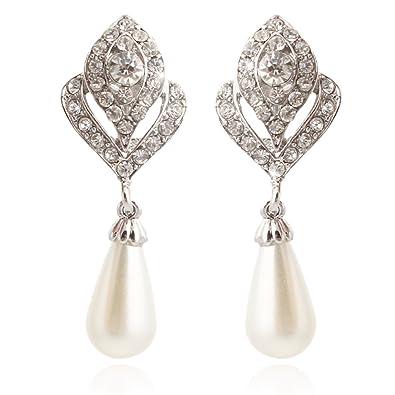 TENYE Austrian Crystal Simulated Pearl Flower Bud Teardrop Clip-on Earrings Clear Silver-Tone XVAXbbbNI