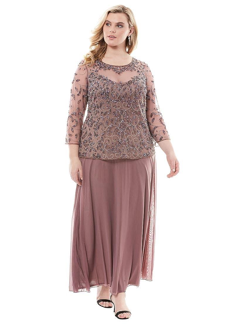 Roamans Women's Plus Size Beaded Bodice Illusion Dress Pisarro Nights 18 W 15075031225mk18W~18W