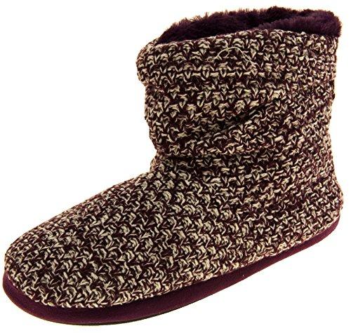 61mdb3u4GwL - Coolers Womens Plum Warm Knitted Winter Fur Lined Slipper Boots 9-10 B(M) US