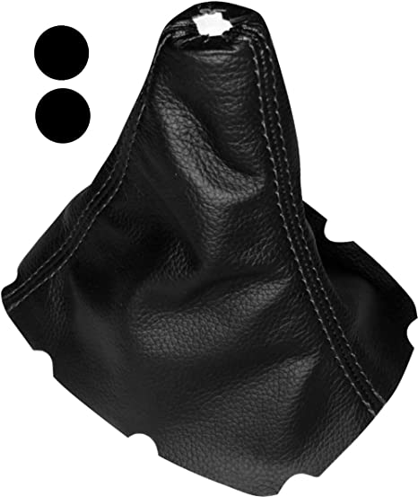 AERZETIX Cuffia leva di cambio 100/% vera pelle nero con cuciture neri