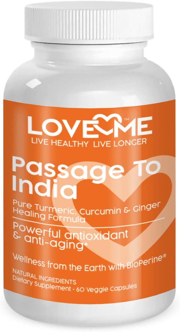 Love Me Nutrition – Passage to India – High Potency Turmeric, Ginger, Curcumin BioPerene- Pain Relief, Anti Inflammatory, Antioxidant Anti-Aging. Natural. No Artificial Ingredients. 60 Vegi Caps
