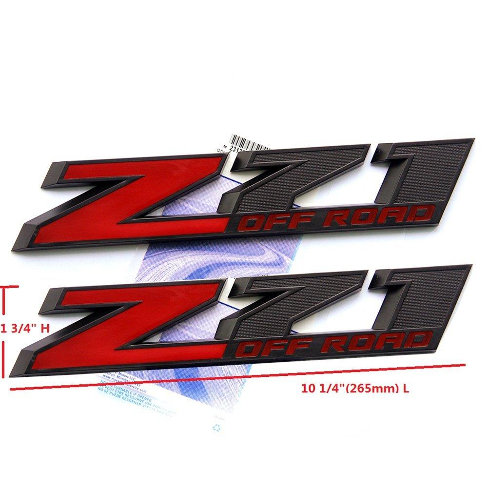 Amazon com yoaoo 2x oem 10 inch big black z71 off road emblems for chevy silverado sierra suburban 2500hd 3500hd matte flat red automotive