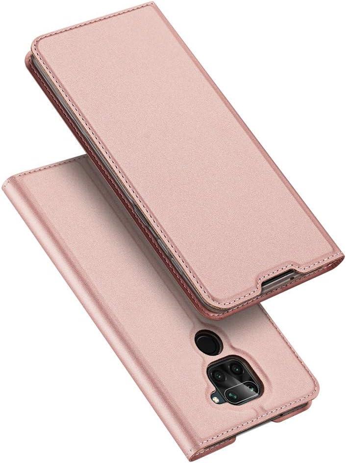 DUX DUCIS Redmi Note 9, PU Cuero Flip Carcasa Fundas Móvil de Tapa Libro para Xiaomi Redmi Note 9 (Rosa Dorada)