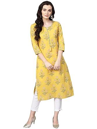 12c387dff3 Varanga mustard printed straight kurta.: Amazon.in: Clothing ...
