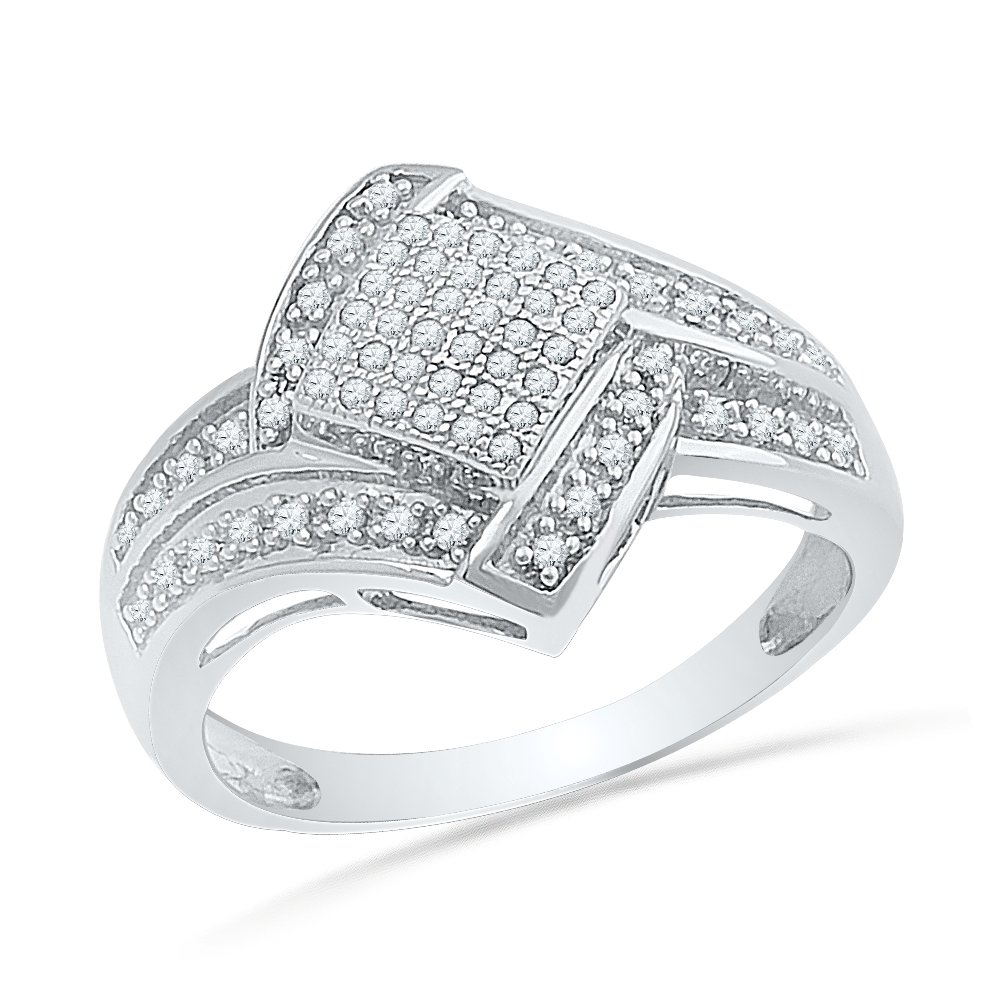 Sterling Silver Round Diamond Sqaure Fashion Ring (1/4 Cttw)