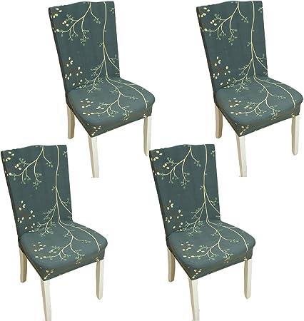 TEERFU Fundas para sillas Pack de 4 Fundas sillas Comedor Fundas elásticas, Cubiertas para sillas,bielástico Extraíble Funda, Muy fácil de Limpiar, Duradera: Amazon.es: Hogar