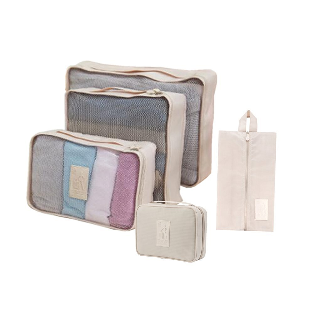 Honeystore Travel Packing Cubes - 5 pcs Set - Packing Organizers for Accessories Cream