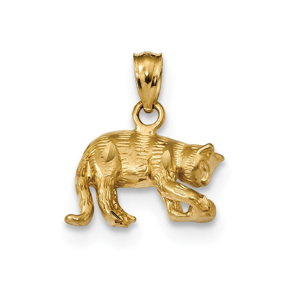 Diamond2Deal 14k Yellow Gold Satin Diamond-cut Cat Pendant