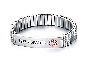 PJ Jewelry Type 2 Diabetes-12mm Stainless Steel Medical Alert ID Tag Stretch Wristband Bracelet for Men Women/Deep Black Engrave