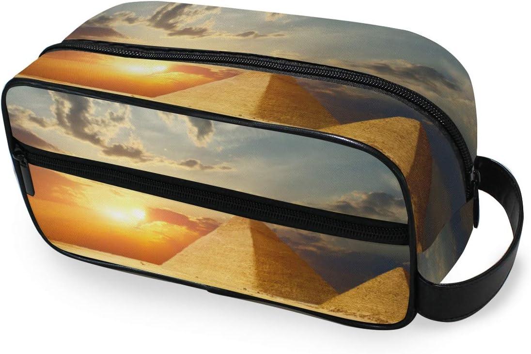 LZXO Bolsa de cosméticos colgante con pirámides de Egipto, atardecer de viaje, bolsa de aseo con cremallera, bolsa de maquillaje profesional, portátil, bolsa