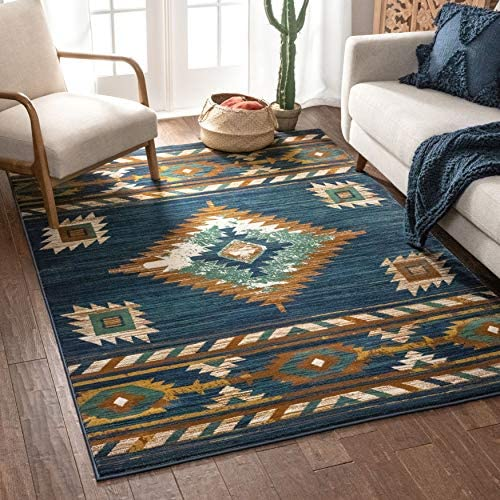 Well Woven Lizette Dark Blue Traditional Medallion Area Rug 8×10 7'10″ x 9'10″