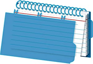 Office Depot Viewfront Spiral Index Cards with Polypropylene Cover, 3in x 5in, Assorted Colors, 50 Bound Cards, OD73138