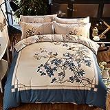 Fashion Home Textile Pure Cotton Duvet Cover Set European Royal Style Bedding Set Flowers Birds Pattern Duvet Cover Sheet Set King Size, 4Pcs, No Comforter