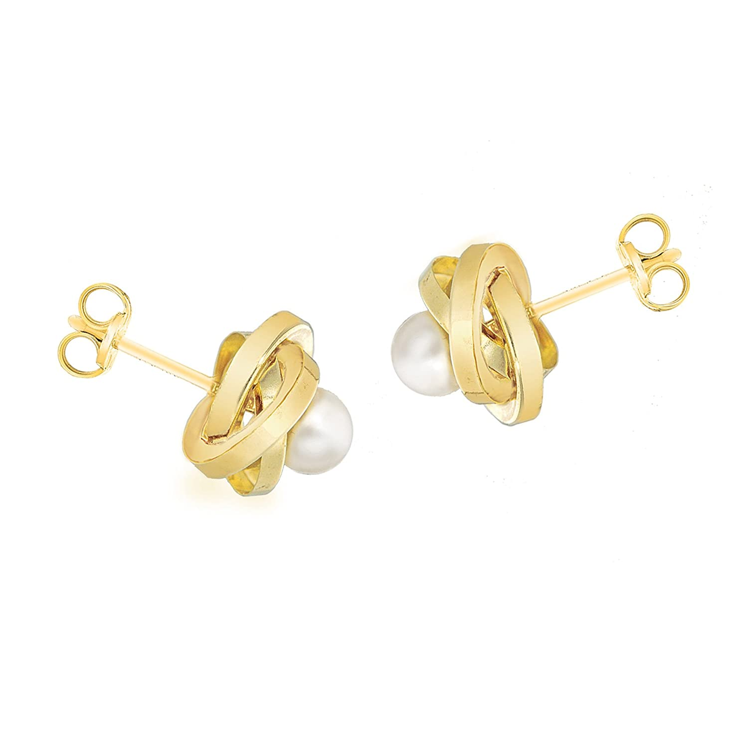Carissima Gold 18ct Yellow Gold 9mm Knot And Pearl Stud Earrings:  Amazon: Jewellery