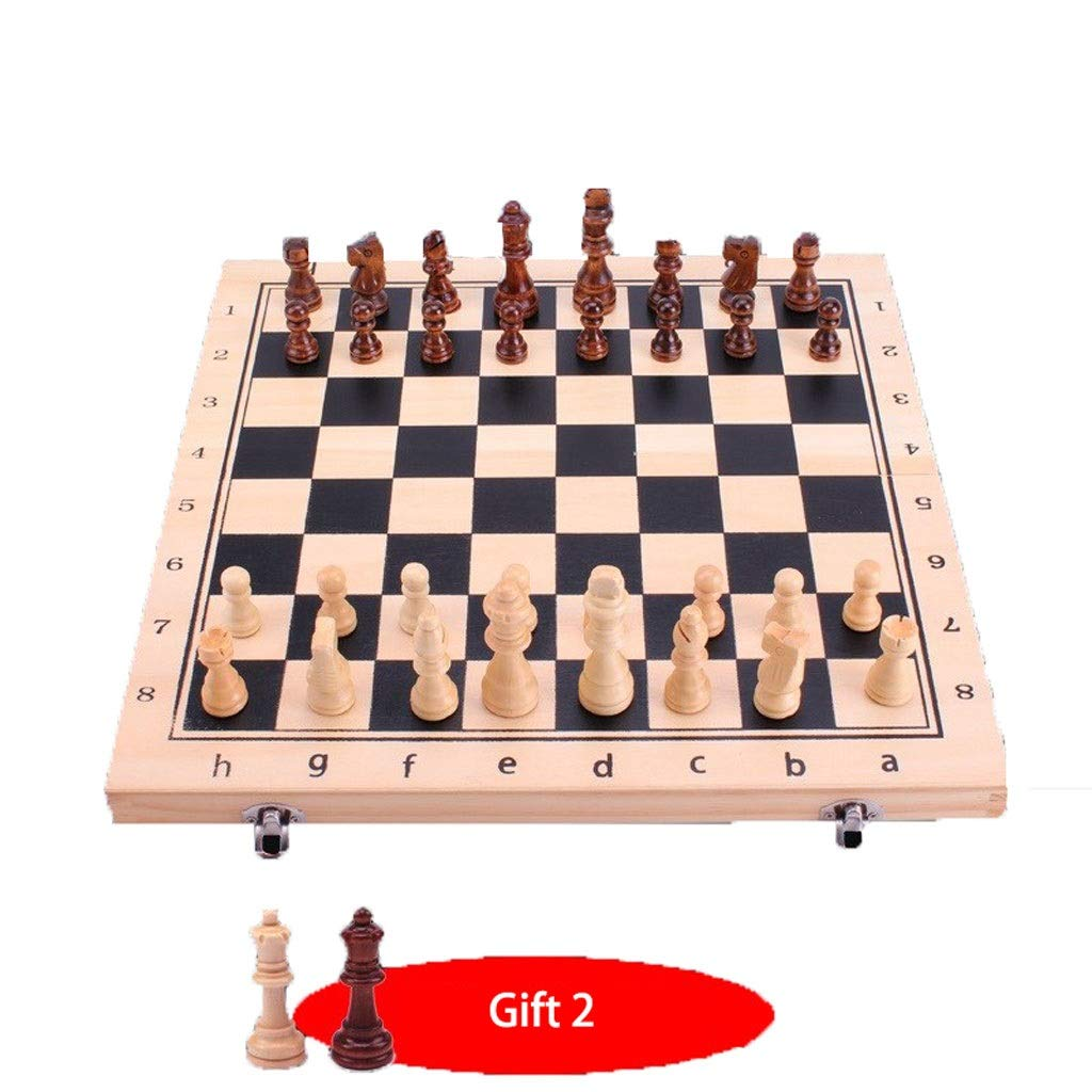 NICOLAS Highend Chess, Black And White Solid Wood, Inline Folding Chessboard ( color   29cm )