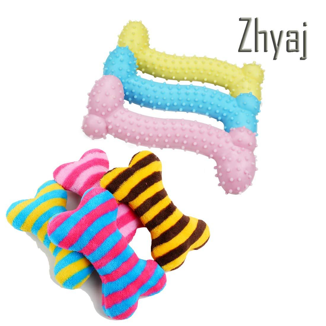7PCS Dog Toys Plush Bone Pet Toy Dog Molar Vocal Toy Macaron Bone Durable And Bite Resistant Clean Tooth Bone Cat Toys,7PCS