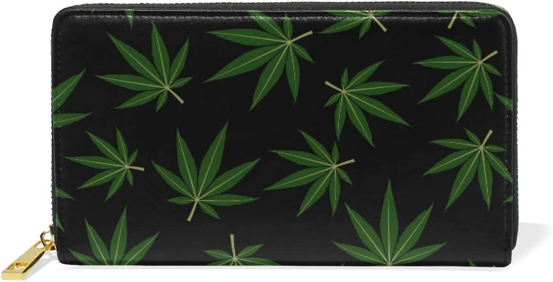 LORONA Cartera de Piel con patrón de Hojas de Marihuana y Cannabis con Cremallera Larga para Mujer