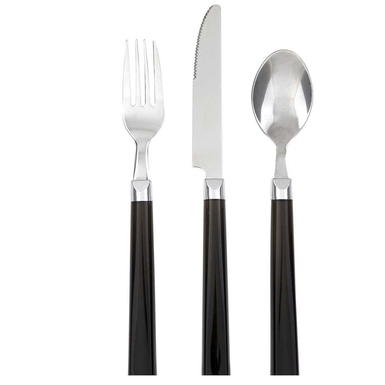 12 piece gibson palmdale dinner flatware silverware set stainless steel black. Black Bedroom Furniture Sets. Home Design Ideas