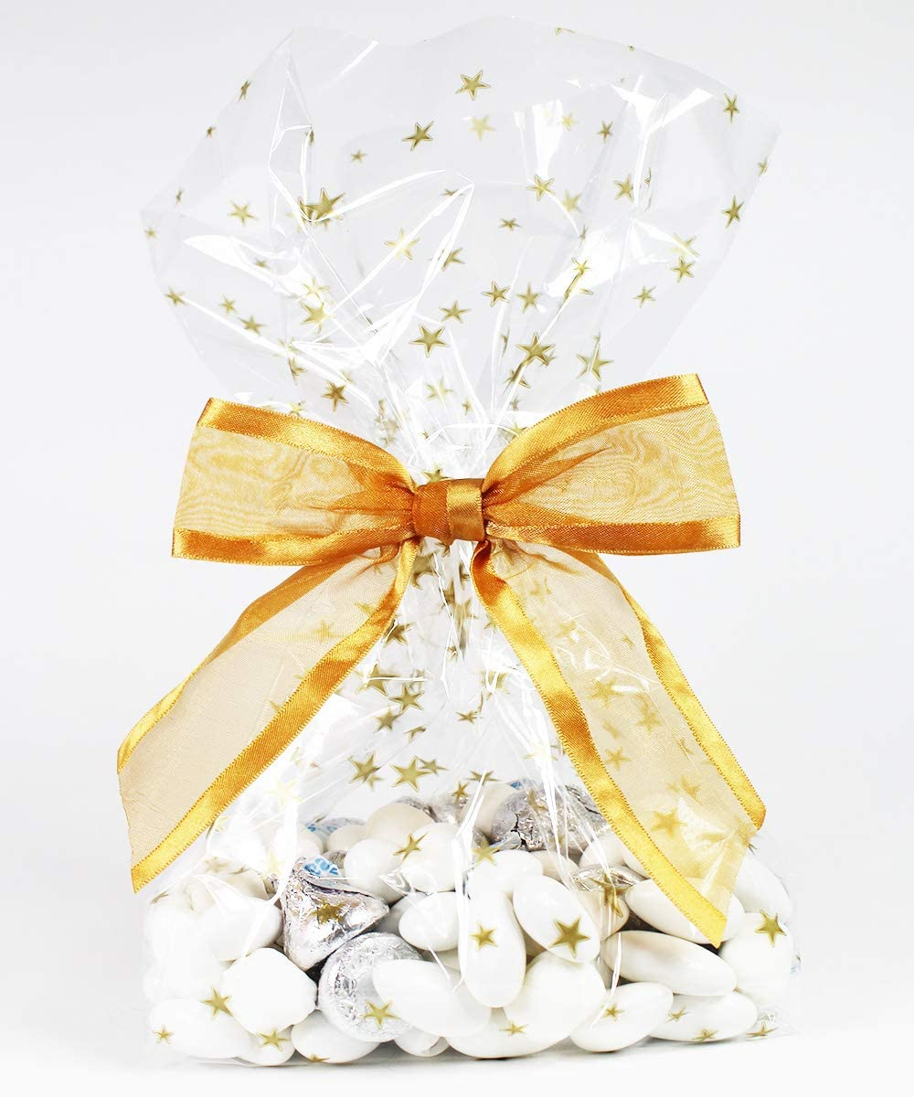 Gold Stars Cellophane Treat/Party Favor Bags with Twist-Tie Organza Bow. Great for Christmas Holidays.Set of 10 Ready-to-Use, Gusseted 11x5x3 Goodie Bags with Bow. Gold/Clear