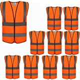 ZOJO High Visibility Reflective Vests,Adjustable Size,Lightweight Mesh Fabric, Wholesale Safety Vest for Outdoor Works, Cycling, Jogging, Walking,Sports - Fits for Men and Women (10 Pack, Neon Orange)