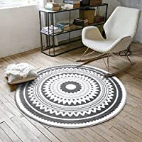 Nordic Style Boho Round Floor Mats, Dark Grey Round Area Rugs Carpet for Living Room Bedroom Study Room Diameter 31.5 Inch by MAXYOYO