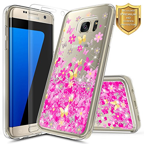 S7 Edge Case, Galaxy S7 Edge Glitter Case w/[Screen Protector HD Clear], NageBee Liquid Quicksand Waterfall Floating Flowing Shiny Sparkle Bling Girls Cute Case for Samsung Galaxy S7 Edge -Butterfly