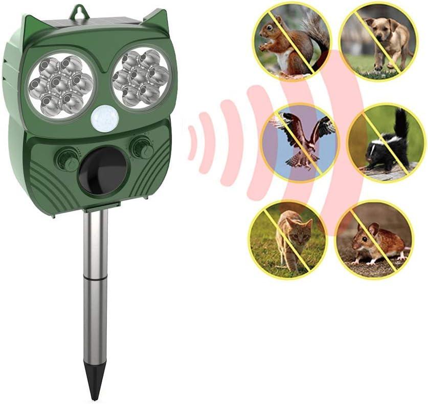 Chanshee Animal Repellent Outdoor Solar Powered Animal Repeller with Optional Audible Alarm- Effectively Scares Away Cats, Dogs, Squirrels, Deer, Raccoon, Groundhog, Skunk, Birds
