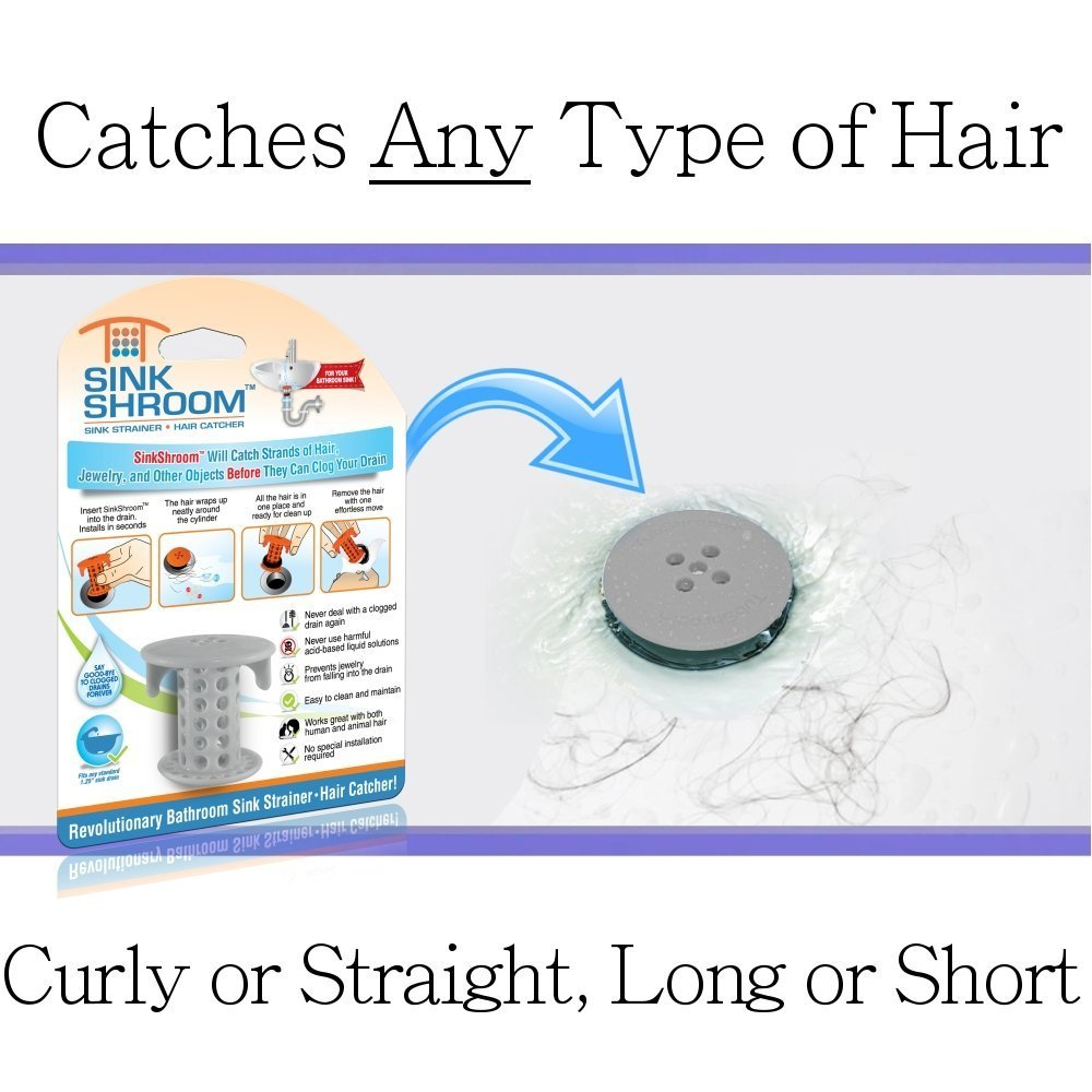 Bathroom sink hair catcher - Amazon Com Sinkshroom The Revolutionary Sink Drain Protector Hair Catcher Strainer Snare Gray Amazon Launchpad