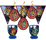 Harry Potter Party Decorations Kit - 7 pc set -Wizard Party Pack - (1) Banner, (2) Centerpieces and (4) Hanging Decorations