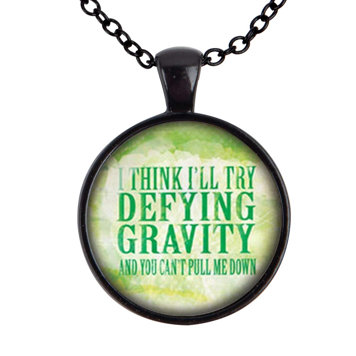 Family Decor Wicked The Musical Defying Gravity Pendant Necklace Cabochon Glass Vintage Bronze Chain Necklace Jewelry Handmade