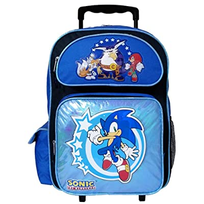 "16"" Sonic the Hedgehog Rolling Backpack-tote-bag-school: Clothing"
