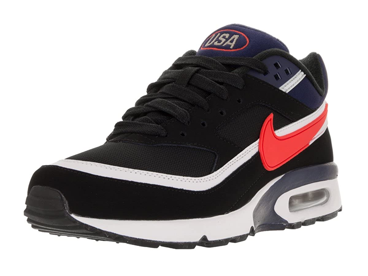 outlet store 83b4c 80a43 Nike Mens Air Max BW Premium Running Shoes Black Crimson Midnight Navy 10.5  D(M) US  Amazon.in  Shoes   Handbags