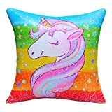 Basumee Unicorn Mermaid Pillow with Insert,16''x16'' Magic Reversible Sequins Cushion for Kids Present Unicorn Party Decor(Rainbow/Silver)