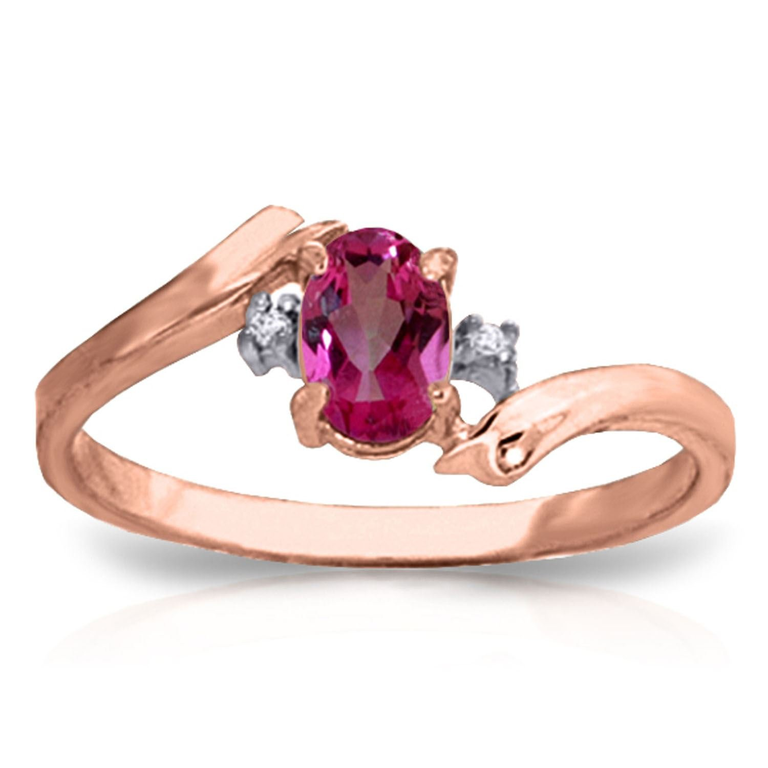 ALARRI 0.46 CTW 14K Solid Rose Gold Rings Natural Diamond Pink Topaz