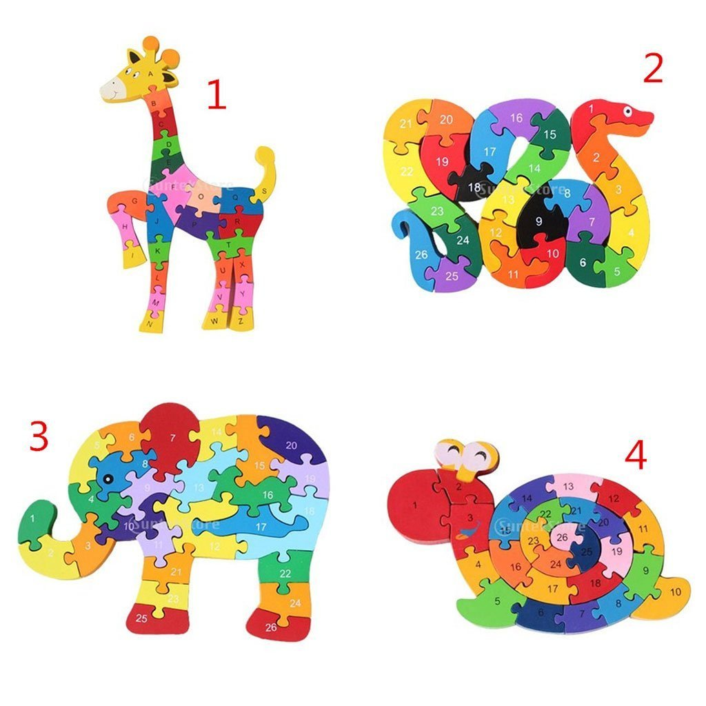Foopp Wooden Colorful Educational Toys Jigsaw Puzzle Alphabet Snake Building Block