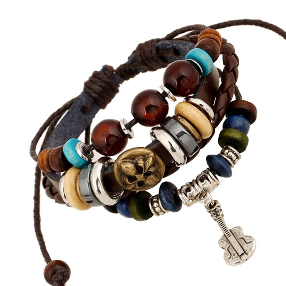 TEMEGO Jewelry Mens Womens Alloy Genuine Leather Braided Surfer Wrap Bangle Bracelet, Vintage Beads Violin Charm Cuff Bracelet, Adjustable Fits 7-12 Inch, Brown Golden Silver