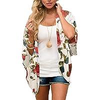 CHICGAL Women's Floral Print Short Sleeve Shawl Chiffon Kimono Cardigan Casual Blouse Tops